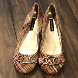 Women's American Eagle Pink Plaid Slip Ons